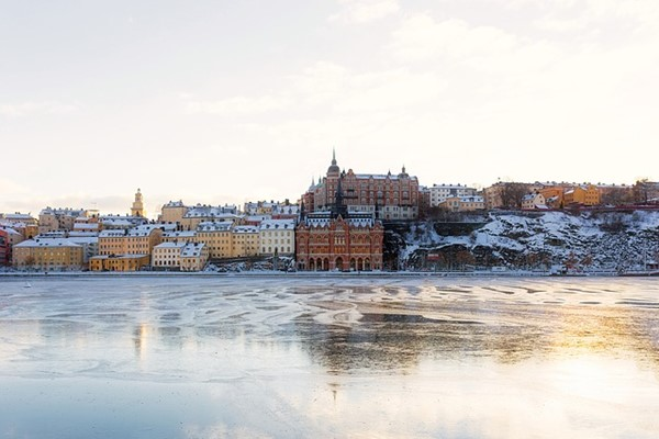 Stockholm In Winter From The Water